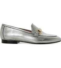 Dune Guru Metallic Leather Loafers Pewter Leather