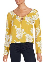 Minkpink Long Sleeve Floral Top Yellow