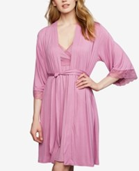 A Pea In The Pod Nursing Nightgown And Robe Lace Trim Pink Blush Magic Mauve Stripe