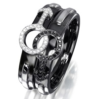 Aenea Mars And Mars Ring Black White Silver