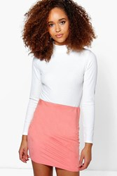 Boohoo Suedette Bodycon Mini Skirt Coral