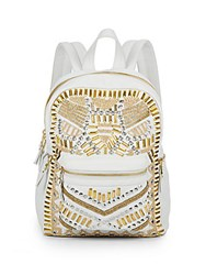 Ash Zuma Medium Embellished Leather Backpack Off White
