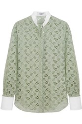 Valentino Embroidered Corded Lace And Waffle Knit Cotton Shirt Light Green