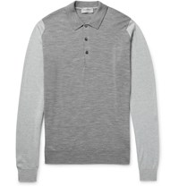 John Smedley Brightgate Two Tone Merino Wool Polo Shirt Gray