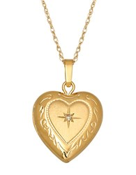 Lord And Taylor 14 Kt. Gold Diamond Heart Locket Necklace 14K Yellow Gold