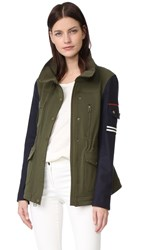 Veronica Beard Skyline Combo Sleeve Army Jacket Army Green
