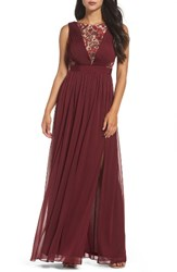 Adrianna Papell Women's Sequin Lace And Tulle Gown Black Cherry