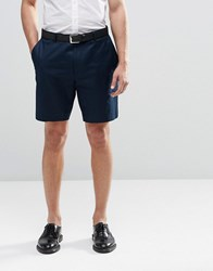 Asos Slim Shorts In Washed Cotton Navy Blue