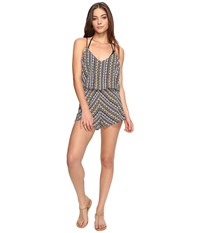 Dolce Vita Tribal Trance Romper Cover Up Henna Sunbeam Women's Jumpsuit And Rompers One Piece Gray