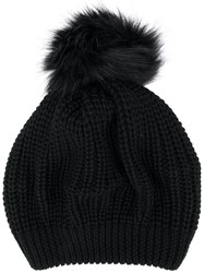 Le Chapeau Ribbed Pom Pom Hat Black