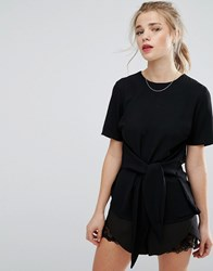 New Look Tie Front Boxy Shell Top Black