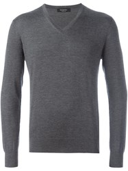 Ermenegildo Zegna V Neck Jumper Grey