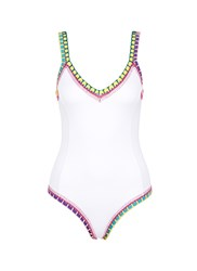 Kiini 'Yaz' Crochet Trim Scoop Back One Piece Swimsuit White