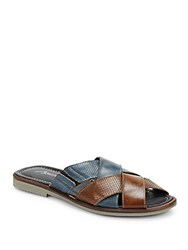 Bacco Bucci Horizon Slip On Leather Sandals Black Brown