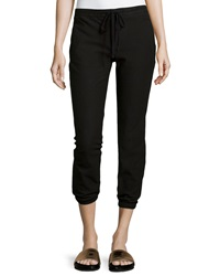 James Perse Twill Cropped Jogger Pants Black