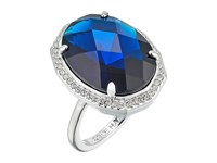 Cole Haan Large Oval Faceted Bezel Ring Rhodium Navy Ring Blue