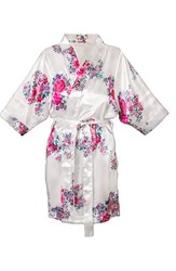 Women's Cathy's Concepts Floral Satin Robe White Y