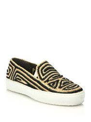 Robert Clergerie Raffia Slip On Sneakers