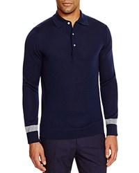 Hardy Amies Long Sleeve Slim Fit Polo With Tipping Navy