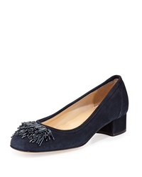 Sesto Meucci Flynn Beaded Fringe Pump Navy