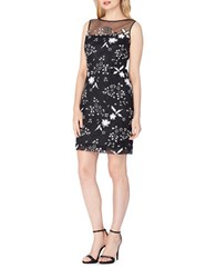 Tahari By Arthur S. Levine Petite Illusion Bodice Sequin Lace Dress Black White
