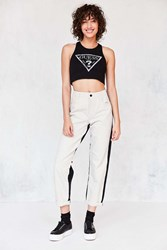 Guess 1981 High Rise Straight Leg Colorblock Jean Black And White