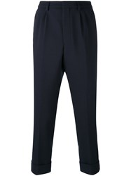 Ami Alexandre Mattiussi Pleated Carrot Fit Trousers Men Polyester Spandex Elastane Wool 44 Blue