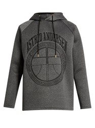 Astrid Andersen Logo Embroidered Hooded Neoprene Sweatshirt Grey