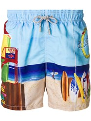 Mc2 Saint Barth Beach Scene Swim Trunks Blue