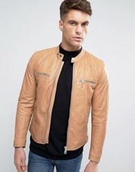 Replay Leather Jacket Tan