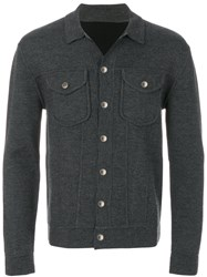 Neil Barrett Button Up Cardigan Nylon Viscose Wool Grey