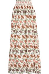 Tory Burch Kara Floral Print Silk Maxi Skirt Ivory Brown