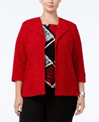 Alfred Dunner Plus Size Wrap It Up Collection Open Front Boucle Jacket Red