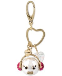 Betsey Johnson Gold Tone Imitation Pearl Headphones Emoji Charms Keychain White