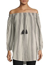 Saks Fifth Avenue Striped Off The Shoulder Cotton Top Black Multi