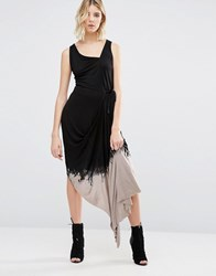 Religion Dip Dye Asymmetric Dress Regime Wash Dip Dye Black