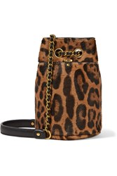 Jerome Dreyfuss Popeye Mini Leopard Print Calf Hair Bucket Bag Leopard Print