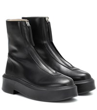 The Row Zipped 1 Leather Ankle Boots Black