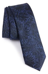 Calibrate Men's Botanical Paisley Silk Skinny Tie Navy