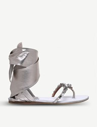 Etro Ribbon Ankle Tie Metallic Leather Sandals Silver