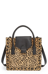 Loeffler Randall 'Junior Work' Genuine Calf Hair And Leather Tote Cheetah Shiny Black Hardware