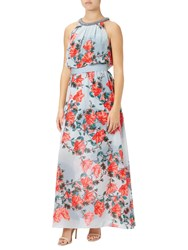 Adrianna Papell Embellished Halter Neck Floral Maxi Dress Red Multi