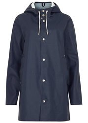 Stutterheim Stockholm Navy Rubberised Raincoat