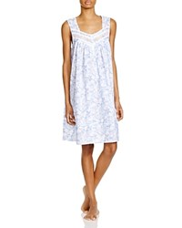 Eileen West Mediterranean Cruise Sleeveless Short Nightgown Blue Ground White Lace Print