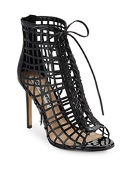 Karl Lagerfeld Lydia Leather Cage Heels Black