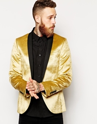 Noose And Monkey Velvet Blazer In Skinny Fit Gold