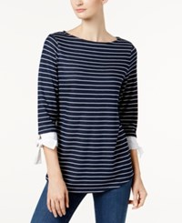 Charter Club Petite Striped Top Created For Macy's Intrepid Blue