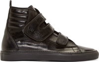 Raf Simons Black Velcro High Top Sneakers