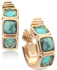 Anne Klein Gold Tone Multi Stone Clip On Hoop Earrings Blue Green