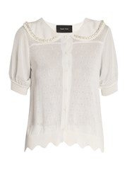 Simone Rocha Embellished Eyelet Knit Short Sleeved Cardigan Ivory